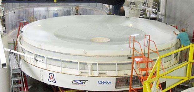 The photograph shows one of LSST's many design innovations—an integrated mirror monolith with a dual optical surface combining the primary and tertiary mirrors. (Photograph courtesy of LSST Corporation.)