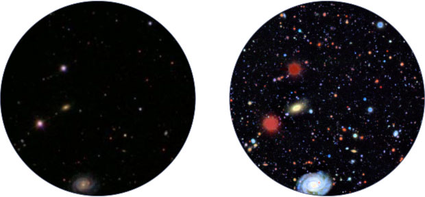 The dramatic improvement in stargazing capabilities that LSST will enable is seen in this side-by-side comparison of the same sector of space revealed by (left) the recent Sloan Digital Sky Survey and (right) in a simulated LSST photograph. (Images courtesy of LSST Corporation.)